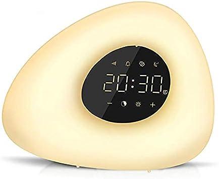 yywl Reloj Despertador Réveil réveil lumière Avec 10 Sons de la Nature 7 Couleurs lumière Tactile contrôle dimmable Lampe de Nuit