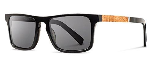 Shwood - Govy 2 Acetate, Sustainability Meets Style, Black/Maple Burl, Grey - Shwoods Sunglasses