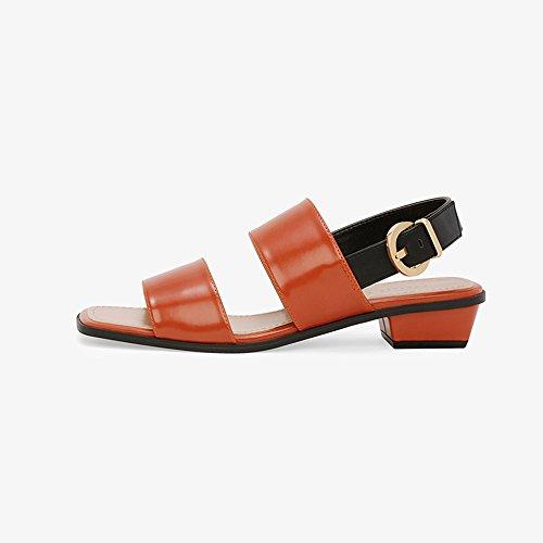 Chaussures Carrée Noir 6 2 Confortable taille Fille Des 5 Uk3 Orange Chaussures YQQ Mode EU36 Tête Bas Bande Talons Femme CM Couleur Décontractées Sandales Dame De wRTq7zxqna