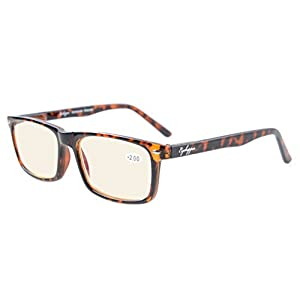 Eyekepper Readers UV Protection, Anti Glare Eyeglasses,Anti Blue Rays, Spring Hinges Computer Reading Glasses (Tortoiseshell, Yellow Tinted Lenses) +0.5