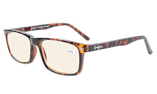 Eyekepper Readers UV Protection, Anti Glare Eyeglasses,Anti Blue Rays, Spring Hinges Computer Eyeglasses (Tortoiseshell, Yellow Tinted Lenses)