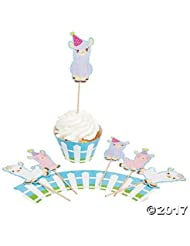 Llama Cupcake Wrappers with Picks - Makes 50 Treats