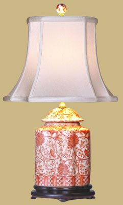 (Coral Porcelain Scalloped Tea Jar Table Lamp)