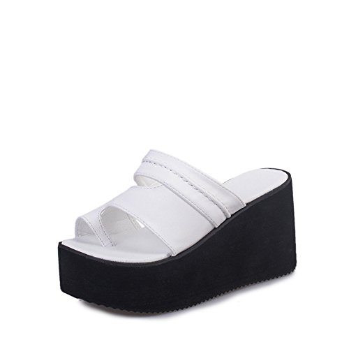 Sandals Toe White Summer High Heels Platform Open Slippers pit4tk Women's Sandals Slides Wedge Comfy vgT7wf