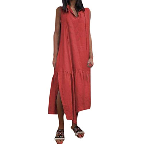 Women Cotton Linen Tank Maxi Dress, Sleeveless V Neck Shirt Long Dresses Drawstring Split Irregular Loose Sundress (Small, Red)