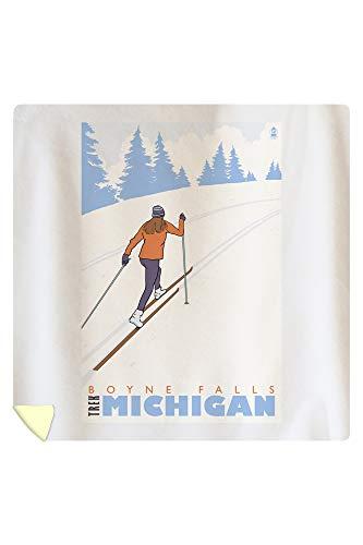 Lantern Press Cross Country Skier - Boyne Falls, Michigan 28066 (88x88 Queen Microfiber Duvet Cover)