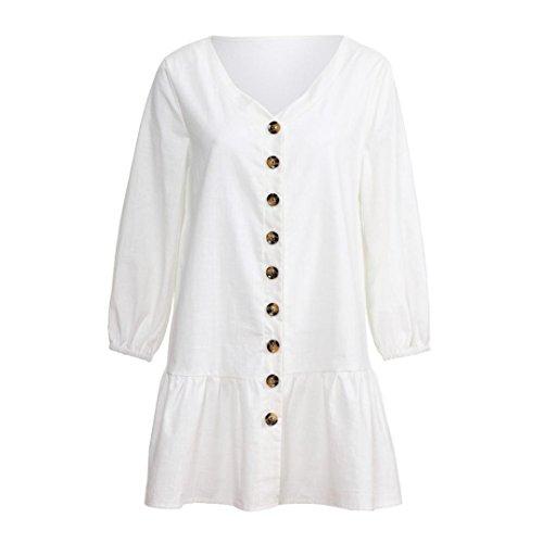 Vestido De Mujeres del Cuello Mini Corta Partido del En Blanco De Ocasionales Color Vestido con Falda del V Nuevas Manga Larga Las DEELIN BotóN SóLido O6qx8IwEq
