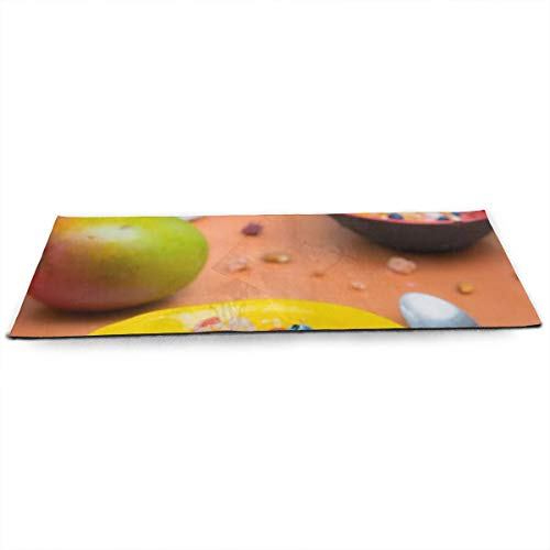 Godels Bowls of Cereals On A Table Luxury Non-Slip Soft Advanced Printed Environmental Yoga Mat.