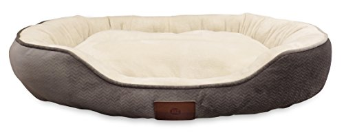 American Kennel Club AKC Embossed Solid Pet Cuddler Bed, Gra