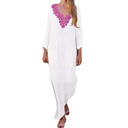 LISTHA Womens Long Sleeve Maxi Dress Kaftan Cotton Plain Casaul Oversized Long Dresses