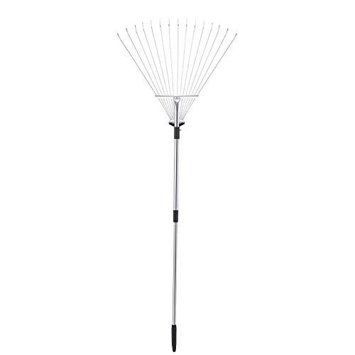 - TTLike 61 Inch Adjustable and Telescopic Metal Rake Garden Lawn Leaf Rake (Aluminum Pole)