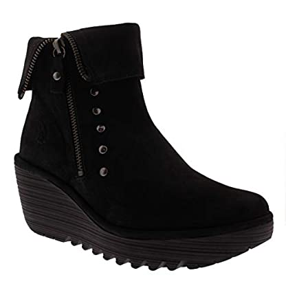 Womens Fly London Yemi Cupido Leather Work Winter Wedge Heel Ankle Boots 3