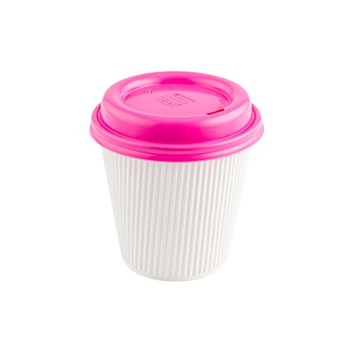 Disposable Coffee Cup Lids - Hot Pink - Fits 8, 12 and 16 oz Coffee and Tea Cups - 25ct Box - Restaurantware