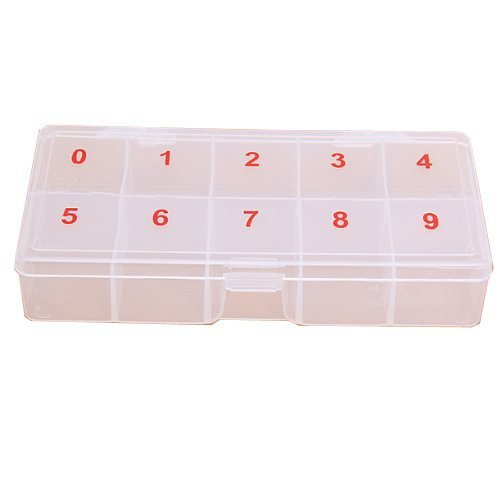 Empty Transparent False Nail Art Tips Rhinestone Storage Case Box Container 10 cells