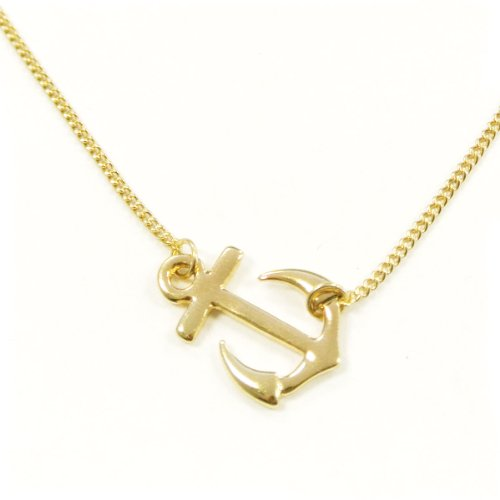 Gold Anchor Necklace (Wrapables Sideways Anchor Pendant Necklace, Gold Plated)