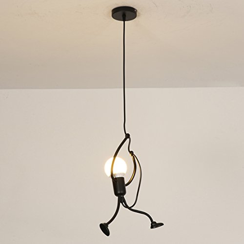 Flush Wall Light Fitting (SOUTHPO Pendant Lighting Black Modern Creative Little People Mini Adjustable Hanging Lights for Bedroom Decor Iron Cartoon Doll Chandeliers for Dining Rooms 1×E26 MAX40W Baking Paint Finish (S))