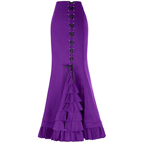 Womens Fashion Pencil Skirt Solid Colour Vintage Bodycon Bandage Slim Fit Mermaid Fishtail Waistband Skirt S-Purple S