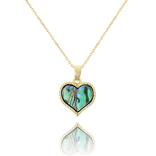 Abalone Heart Earrings - KISSPAT Dainty Abalone Heart Pendant Necklace Charm Paua Shell 14 K Gold Plated Chain Necklace for Women Girls