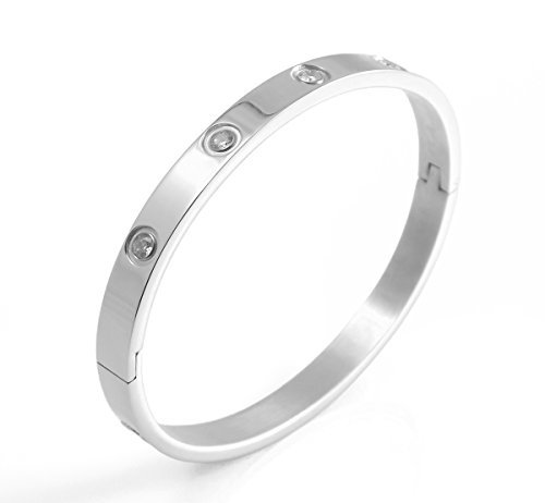 L&H Jewelry - Stainless Steel Hinged Bangle Bracelet studded with White Faceted Crystals (Silver)