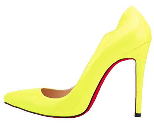 HooH Women's Candy Color Red Sole Stiletto Wedding Pumps Yellow 2JZOGxAGdG
