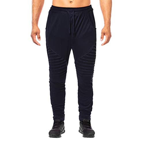 Fashion Men's Summer Solid Casual Sports Running Elastic Drawstring Trousers, MmNote Navy