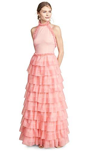 Ewa Herzog Women's Halter Neck Tiered Gown, Grapefruit, Pink, 0