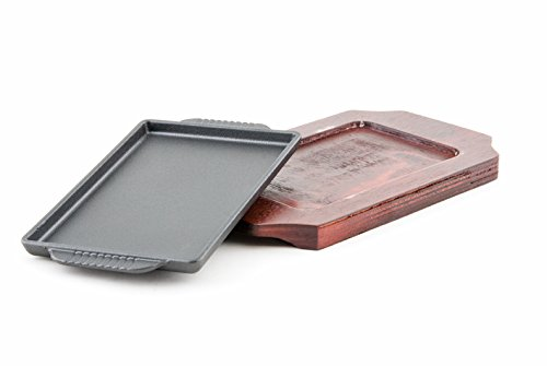 Cast Iron Steak Plate Sizzle Griddle with Wooden Base Steak Pan Grill Fajita Server Plate Restaurant or Home Use (7.5'' x 4.75'')