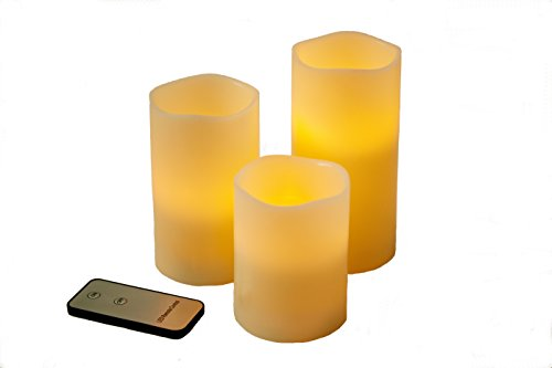Best realistic flickering Real Wax pillar candles - Flameless battery operated LED candles with remote - Perfect long lasting set of 3 - Enhance your Weddings Special Events Parties and Décor