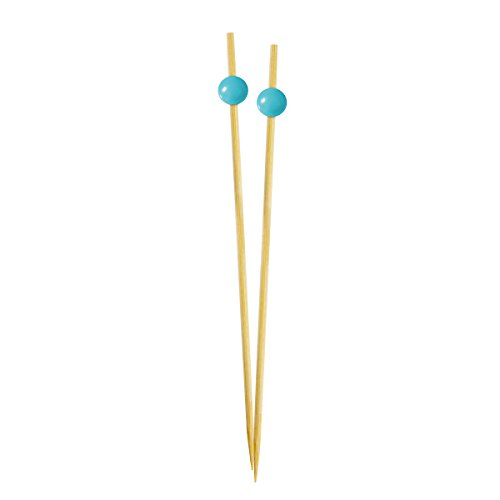 Simply Baked Large Appetizer & Cocktail Pick Turquoise Ball on Natural Wood Pick 30-Pack Disposable and Sturdy