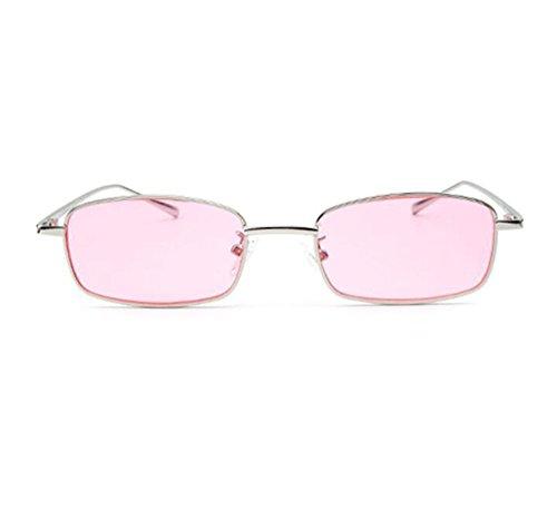 Style Vintage de metal Square polarizadas para Classic no marco gafas Rosa Hippie de sol mujeres Plata f4wnpqBxE