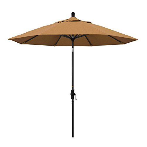 California Umbrella 9' Round Aluminum Market Umbrella, Crank Lift, Collar Tilt, Black Pole, Sunbrella Teak