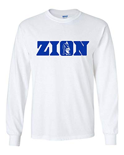 Long Sleeve White Duke Zion Logo T-Shirt Adult