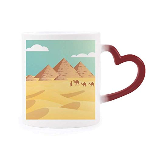 Ancient Egypt Pyramid Camel Pattern Morphing Mug Heat Sensitive Red Heart Cup