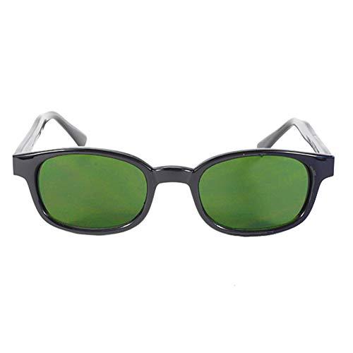 Original KDs Biker Green Lenses Black Frames Biker Sunglasses