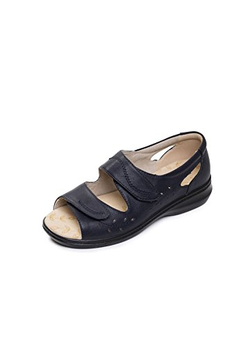 Fit 2' Women's Plus Horn Plus 'wave Navy Extra Range Sandal Comfort amp; Wide Footcare Uk Width Ee Padders For Free Leather Shoe BXZdxX5