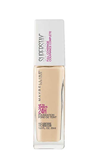 Maybelline New York Super Stay Full Coverage Liquid Foundation Makeup, Light Beige, 1 Fluid Ounce