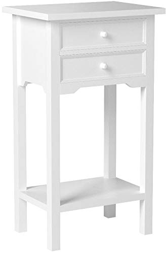 Set of 2 Wood White End Tables Nightstands with Two Drawers by Sunshine Megastore