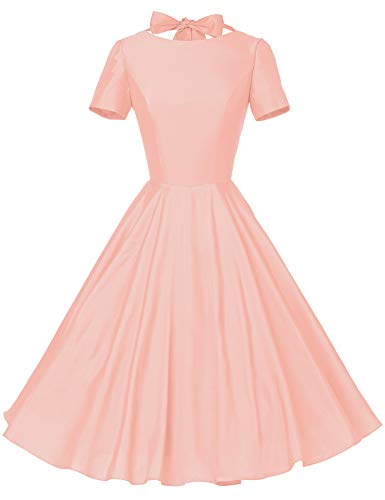 GownTown Womens 1950s Vintage Retro Party Swing Rockabillty Stretchy Dress - Small - Pink]()