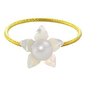 Vera Perla 18k Gold, Delicate 4mm White Pearl Flower Shell Ring