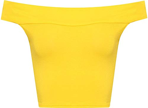 WearAll Women's Off Shoulder Plain Short Crop Bandeau Open Cowl Neck Top - Yellow - US S/M=4-6 (UK M/L=8-10)