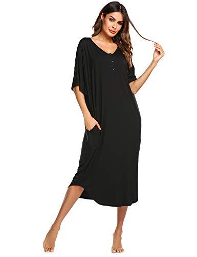 Ekouaer Women's Nighhtgown Womens Round Neck/V Neck Sleepshirt Oversized Pockets Sleep Dress - Sleeve Sleepshirt