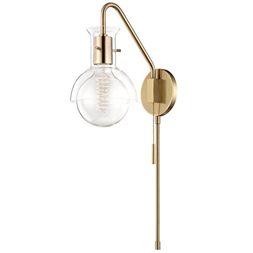 Mitzi Riley Aged Brass and Clear Glass Swing Arm Wall Lamp ()