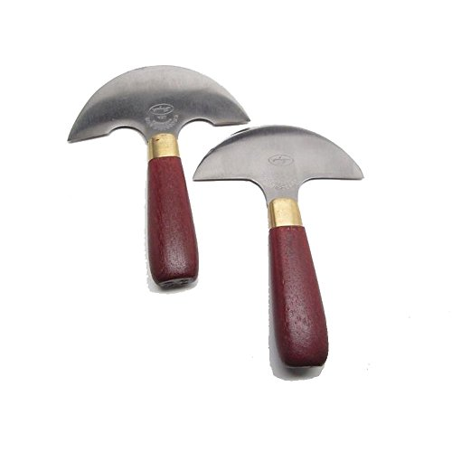Set of 2 C.S. Osborne Leather Skiving Round Head Knife # 70 & 71 - Leather Working Saddle Making Craft DIY Forged Steel Blades Hardwood Handle - Made in USA (C S Osborne Knives)