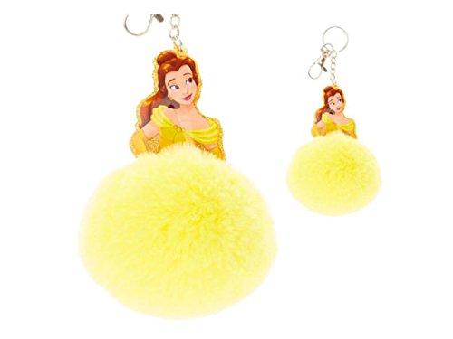 Kole Imports KC241-24 Disney Princess Belle Pom Pom Keychain - Pack of 24