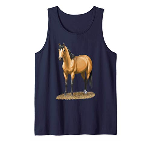 Beautiful Buckskin Dun Quarter Horse Stallion Horse Lovers Tank Top ()