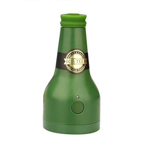 Ultrasonic Beer Foamer Creative Bottle Shape Foam Maker Portable Outdoor Party Beer Bubbler for Canned Bottled Beer (Green)