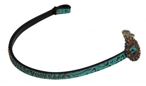 Showman Teal Filigree Print Leather Wither Strap w/Copper Studs & Buckle! NEW HORSE ()