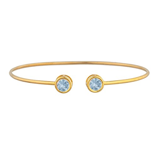 - 2 Ct Genuine Aquamarine Round Bezel Bangle Bracelet 14Kt Yellow Gold Plated Over .925 Sterling Silver