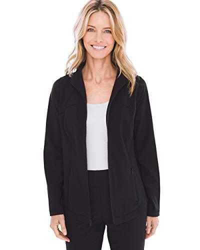 Chico's Women's Zenergy Neema Knit-Inset Jacket Size 12/14 L (2) Black