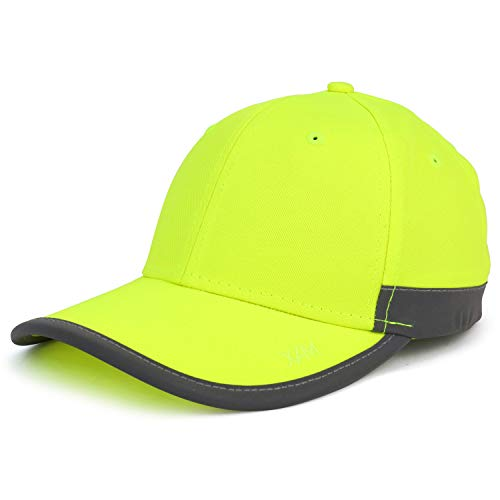 - Trendy Apparel Shop High Visibility Reflective Trim Safety Baseball Cap - Safety Green